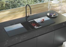 Oliveri-Black-Double-Bowl-Glass-Top-Sink on sale