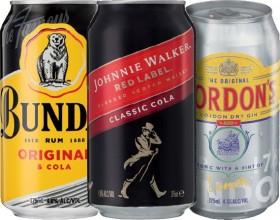 Bundaberg-Rum-U.P-Johnnie-Walker-Red-Cola-4.6-or-Gordons-Gin-Tonic-4.5-10-Pack on sale