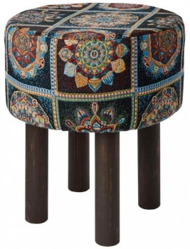 40-off-Koo-Home-Boho-Tapestry-Footstool-Black-40x40x47cm on sale