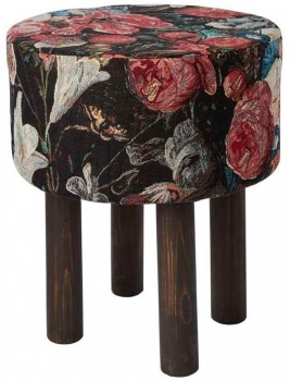 40-off-Koo-Home-Florali-Tapestry-Footstool-Black-40x40x47cm on sale