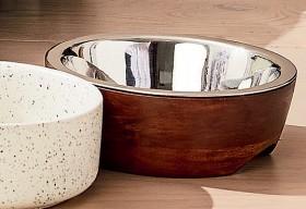 Metal-with-Wood-Pet-Bowl-Medium on sale