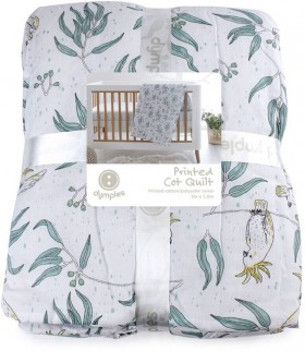 Dymples-Cockatoo-Print-Cot-Quilt on sale