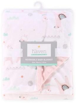 Little-Haven-Velour-Blanket-Llama-Blush on sale