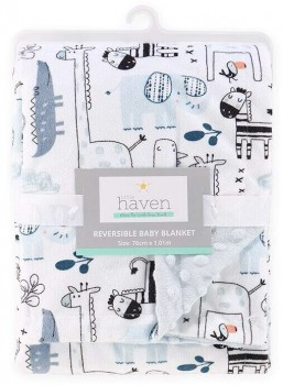 Little-Haven-Velour-Blanket-Safari-Blue on sale