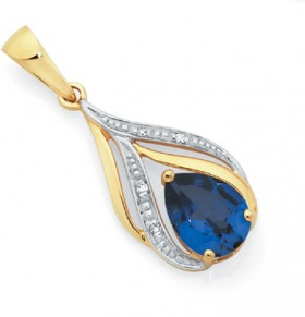 9ct-Gold-Created-Sapphire-Diamond-Pendant on sale