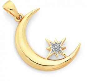 9ct-Gold-Two-Tone-Gold-Moon-Pendant on sale
