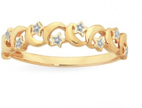 9ct-Gold-Two-Tone-Moon-Stars-Dress-Ring on sale