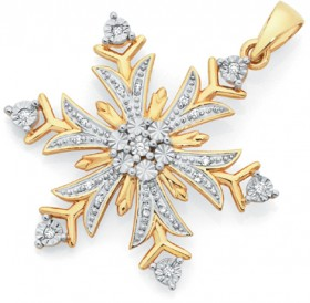 9ct-Gold-Diamond-Snowflake-Pendant on sale