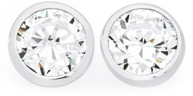 Sterling-Silver-6.5mm-CZ-Bezel-Set-Stud-Earrings on sale