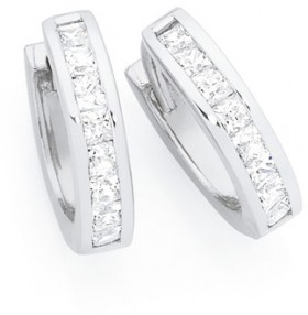 Sterling-Silver-CZ-Princess-Cut-Channel-Set-Huggie-Earrings on sale
