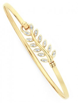9ct-Gold-Two-Tone-60mm-Leaf-Bangle on sale