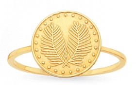 9ct-Gold-Palm-Leaf-Coin-Dress-Ring on sale