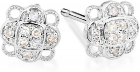Cluster-Stud-Earrings-with-0.10-Carat-TW-of-Diamonds-in-Sterling-Silver on sale