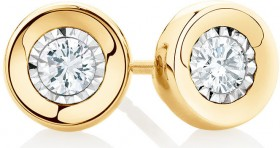 Stud-Earrings-with-0.15-Carat-TW-of-Diamonds-in-10ct-Yellow-Gold on sale