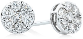 Stud-Earrings-with-0.50-Carat-TW-of-Diamonds-in-10ct-White-Gold on sale