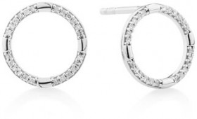 Circle-Stud-Earrings-with-Diamonds-in-Sterling-Silver on sale