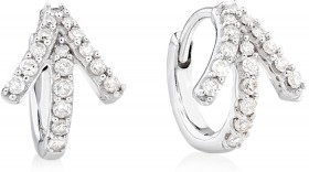 Mini-Hoop-Earrings-with-0.20-Carat-TW-of-Diamonds-in-10ct-White-Gold on sale