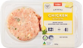 Coles-Chicken-Cheese-Burgers-500g on sale