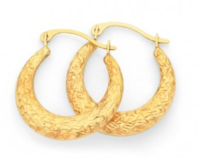 9ct-Gold-12mm-Puff-Creole-Earrings on sale