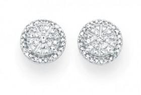 9ct-Gold-Diamond-Cluster-Stud-Earrings on sale