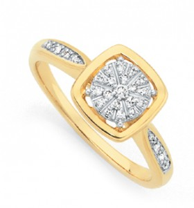 9ct-Gold-Diamond-Square-Dress-Ring on sale