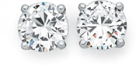 Sterling-Silver-CZ-Round-4-Claw-Stud-Earrings on sale