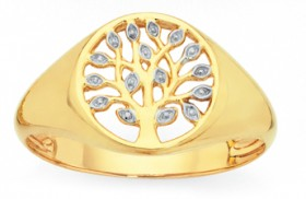 9ct-Gold-Two-Tone-Tree-of-Life-Signet-Ring on sale
