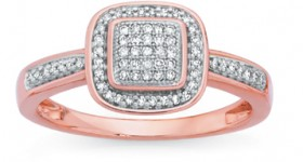 9ct-Rose-Gold-Diamond-Cushion-Frame-Ring on sale