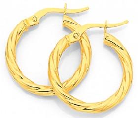 9ct-Gold-15mm-Twist-Hoop-Earrings on sale