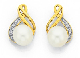 9ct-Gold-Cultured-Fresh-Water-Pearl-Diamond-Crossover-Earrings on sale