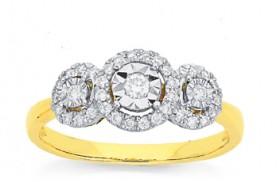 9ct-Gold-Diamond-Trilogy-Dress-Ring on sale