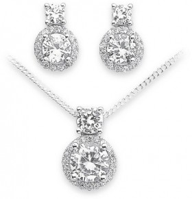 Sterling-Silver-CZ-Cluster-Pendant-Earring-Set on sale