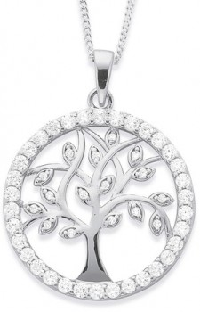 Sterling-Silver-CZ-Round-Tree-of-Life-Pendant on sale