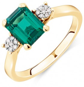 Ring-with-Created-Emerald-Diamonds-in-10ct-Yellow-Gold on sale