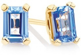 Stud-Earrings-with-Created-Light-Blue-Sapphire-in-10ct-Yellow-Gold on sale