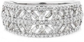 Multi-Row-Ring-with-0.75-Carat-TW-of-Diamonds-in-10ct-White-Gold on sale