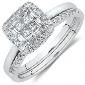 Bridal-Set-Ring-with-0.50-Carat-TW-of-Diamonds-in-10ct-White-Gold on sale