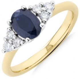 Ring-with-0.20-Carat-Diamonds-and-Blue-Sapphire-in-10ct-Yellow-and-White-Gold on sale