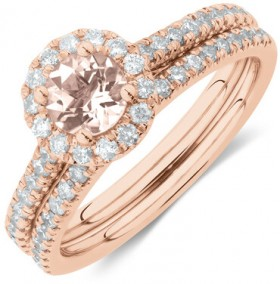 Evermore-Bridal-Set-with-Morganite-0.54-Carat-TW-of-Diamonds-in-14ct-Rose-Gold on sale