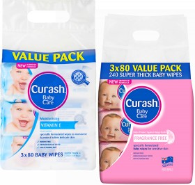 Curash-Baby-Care-Wipes-3-x-80-Value-Pack-Range on sale