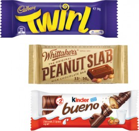 Cadbury-Medium-Bar-30g-60g-Whittakers-Slab-45g-50g-or-Kinder-Bueno-Bar-39g-43g on sale