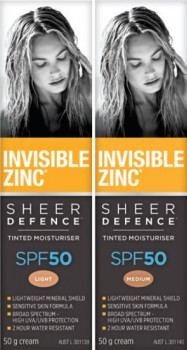 Invisible-Zinc-Sheer-Defence-Tinted-Moisturiser-Light-or-Medium-SPF50-50g on sale