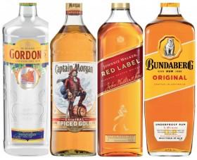 Gordons-Gin-Captain-Morgan-Spiced-Gold-Rum-Johnnie-Walker-Red-Label-Scotch-or-Bundaberg-Rum-U.P.-1-Litre on sale
