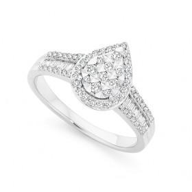 9ct-White-Gold-Diamond-Pear-Shape-Dress-Ring on sale