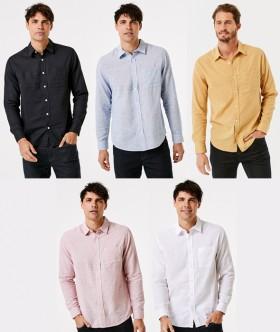 Mens-Linen-Blend-Shirt on sale