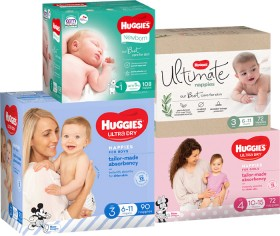 Huggies-Ultimate-or-Ultra-Dry-Jumbo-Nappies-Excludes-Nappy-Pants on sale