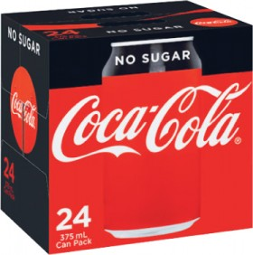 Coca-Cola-No-Sugar-Soft-Drink-24x375mL on sale