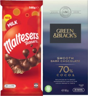 Mars-Maltesers-Block-Chocolate-146g-or-Green-Blacks-Smooth-or-Organic-Block-Chocolate-90g on sale