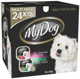 My-Dog-24-Pack-Dog-Food-Tray-Varieties-100g-Gourmet-Beef-Classic-Lamb on sale