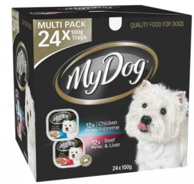 My-Dog-24-Pack-Dog-Food-Tray-Varieties-100g-Chicken-Supreme-Beef-Liver on sale
